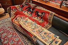 A NEEDLEWORK FLOOR RUG WITH HORSE MOTIF AND A DECORATIVE ANTIQUE SCREEN SASH