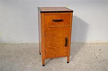 A SINGLE DECO CABINET IN FIDDLE BACK MAPLE