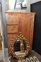 A RUSTIC PROVINCIAL CABINET WITH FIVE DRAWERS (OLD BORER)