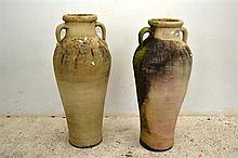A PAIR OF MEDIUM SIZED URNS WITH TWIN HANDLES