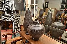 A PAIR OF CONTEMPORARY METAL LAMP BASES