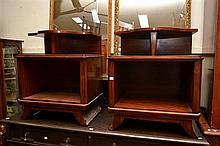 A PAIR OF ART DECO STYLE TIMBER BEDSIDE CABINETS