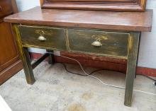 A TWO DRAWER DRESSER MADE FROM SALVAGED MATERIALS