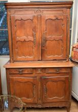 A FRENCH PROVINCIAL BOOKCASE CABINET (old borer)