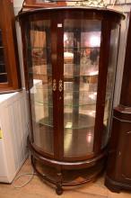 DEMI-LUNE TWO DOOR GLAZED CRYSTAL CABINET