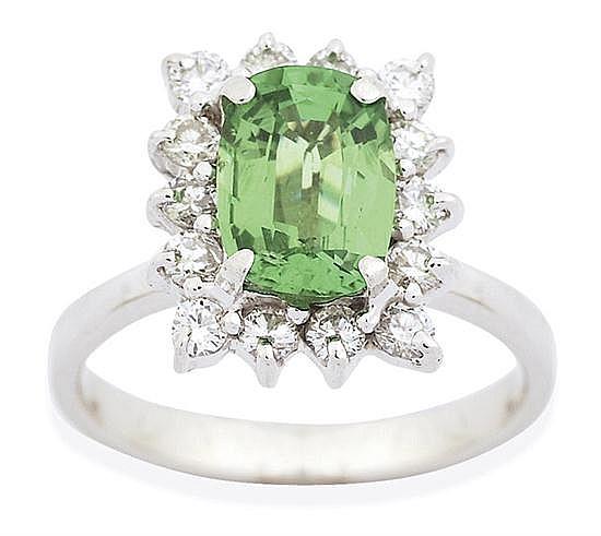 A TSAVORITE GARNET AND DIAMOND RING