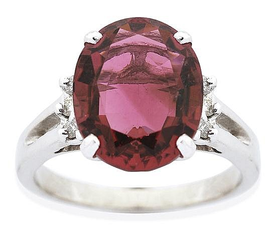 A RUBELITE AND DIAMOND RING