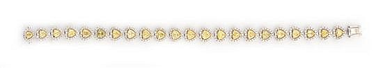 A YELLOW AND WHITE DIAMOND BRACELET