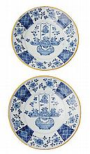 A PAIR OF 18TH CENTURY DUTCH DELFT PLATES