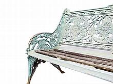 A COALBROOKDALE CAST IRON HORSE CHESTNUT BENCH