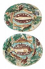 A PAIR OF FRENCH MAJOLICA TROMPE L'OEIL PLATTERS BY FRANCOIS MAURICE