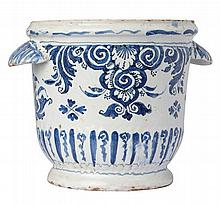 FRENCH FAIENCE NEVERS WINE COOLER WITH SHELL HANDLES 18TH CENTURY