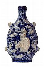 AN 18TH CENTURY SALT GLAZE STONEWARE FLASK