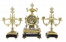 A NAPOLEON III CLOCK GARNITURE, 19TH CENTURY BY CHARLES GAUTIER PARIS CIRCA 1856 - KEY, PENDANT & ORIGINAL RECEIPT