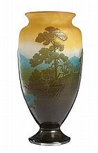 EMILE GALLE (French 1846-1904) CAMEO GLASS, LANDSCAPE VASE, CIRCA 1900