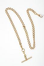AN ANTIQUE FOB CHAIN WITH T-BAR FITTING IN GOLD