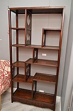 A PAIR OF 19TH CENTURY CHINESE TIMBER OPEN BOOKCASES