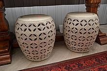 A PAIR OF CHINESE PORCELAIN OPENWORK DRUM STOOLS