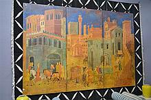 A TRIPYTYCH WITH SCENE OF GOOD GOVERNMENT AFTER LORENZETTI, PUBLIC PALACE, SIENNA