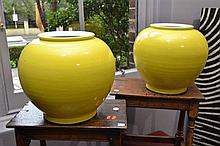 A PAIR OF LARGE CHINESE YELLOW GLAZED VASES