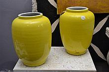 A PAIR OF CHINESE YELLOW GLAZED VASES