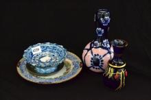 GROUP OF FLORAL THEMED ITEMS, INCL. PEWTER DISH, ART GLASS, GOURDED VASE
