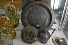 17TH CENTURY PEWTER PLATE AND LATER INKWELL AND TANKARD