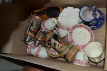ONE BOX OF ASSORTED PORCELAIN, INCL TANKARDS, ROYAL DOULTON, ETC
