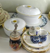 GROUP OF PORCELAIN, INCL. TRANSFER PRINT PLATTER, ROYAL WORCESTER TERRINES
