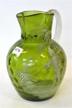 A MARY GREGORY DECANTER IN GREEN