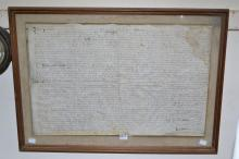 A FRAMED DEED ON VELLUM