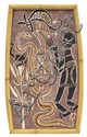 DAVID MALANGI (CENTRAL ARNHEM LAND, 1927-1999) Hunter and Dog Attacked by snakes natural earth pigments on bark