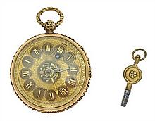 AN ANTIQUE GOLD POCKET WATCH