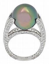 A TAHITIAN PEARL AND DIAMOND RING