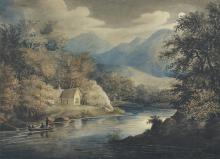 FOLLOWER OF JOHN GLOVER (19th century) Cottage Beneath the Hills English Castle (verso)    double-sided watercolour