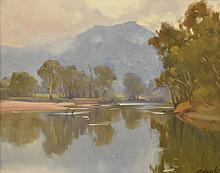 § ERNEST BUCKMASTER (1897-1968) Morning, Murray River oil on canvas