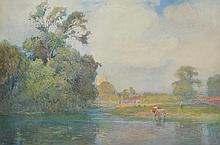 MAX LUDBY (British, 1858-1943) (Cows by the River) 1911 watercolour