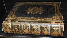 A LARGE LEATHERBOUND FAMILY BIBLE