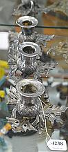 A SET OF THREE SILVER PLATE CANDLESTICKS, THISTLE DESIGN