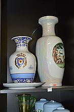 COLLECTION OF CHINESE CERAMICS INCL. PORCELAIN STOOL, LARGE VASE AND TWO OTHERS (FAULTS)