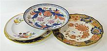 FOUR HAND PAINTED CABINET PLATES, INCL. NEWHALL AND ROYAL CROWN DERBY, SOME FAULTS