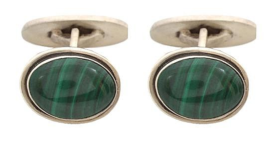A PAIR OF MALACHITE CUFFLINKS BY GEORG JENSEN