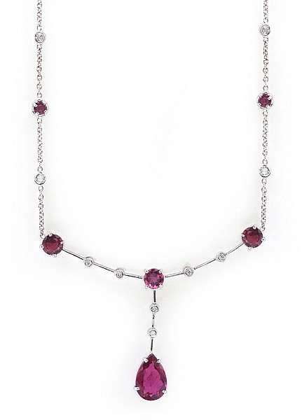 A RUBELITE AND DIAMOND DROP NECKLACE