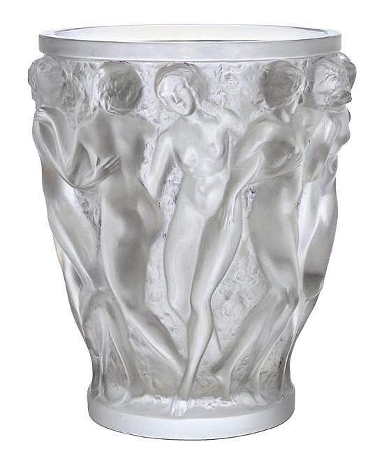 A RENE LALIQUE BACCHANTES PATTERN GLASS VASEMODEL INTRODUCED 1927
