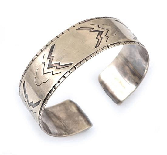 A GEORG JENSEN BANGLE IN STERLING SILVER