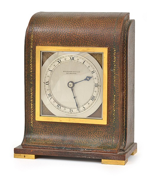 A W DRUMMOND & CO. MANTEL CLOCK IN EMBOSSED LEATHER