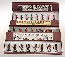 3 X BRITAINS SETS INCLUDING NO 212 ROYAL SCOTS LOWLANDERS POST WAR VERSION; 1395 KINGS OWN SCOTTISH BORDERERS; AND 258 BRITISH INFANTRY IN STEEL HELMETS