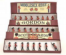 3 X BRITAINS SETS INCLUDING NO.76 MIDDLESEX REGIMENT MARCHING;
