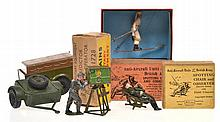 BRITAINS SKI TROOPER 2037; 2 X SPOTTING CHAIR AND OBSERVER 1731; CLOCKWORK TRAILER 2041;