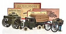 BRITAINS 18' HEAVY HOWITZER 1266; 10-WHEEL COVERED TENDER 1432;